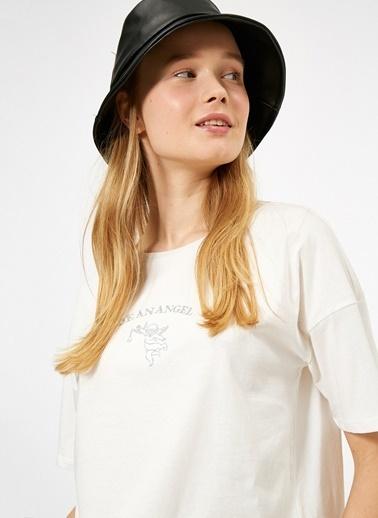 Koton Koton Yazılı Baskılı Ekru T-Shirt Ekru